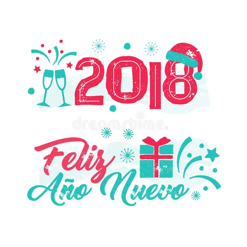 Feliz Ano Nuevo Happy New Year Spanish Stock Illustrations.