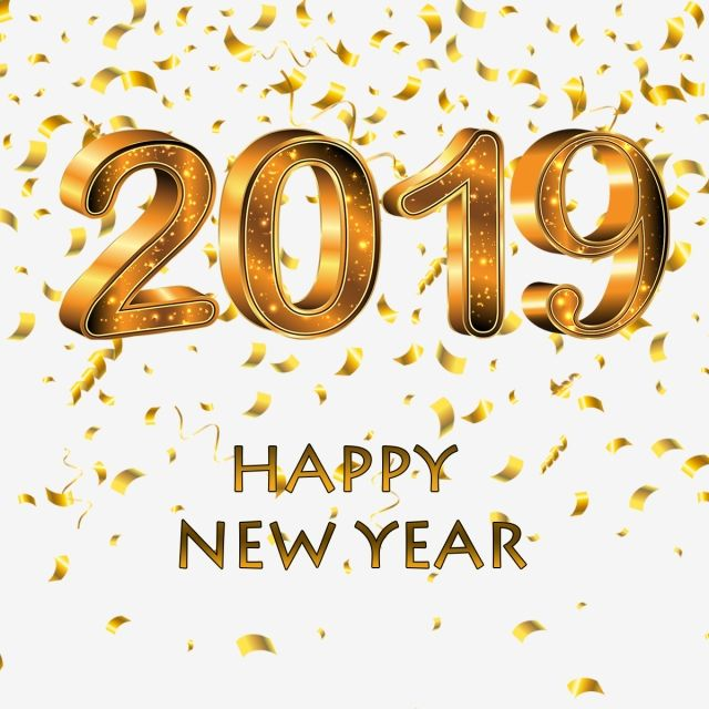 Happy New Year 2019 Golden Pictures, Happy, New, Year PNG.