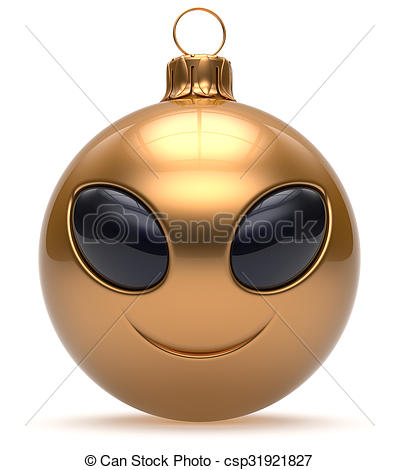 Smiley alien face Christmas ball Happy New Year bauble golden.