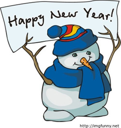 New Year snowman clipart image.
