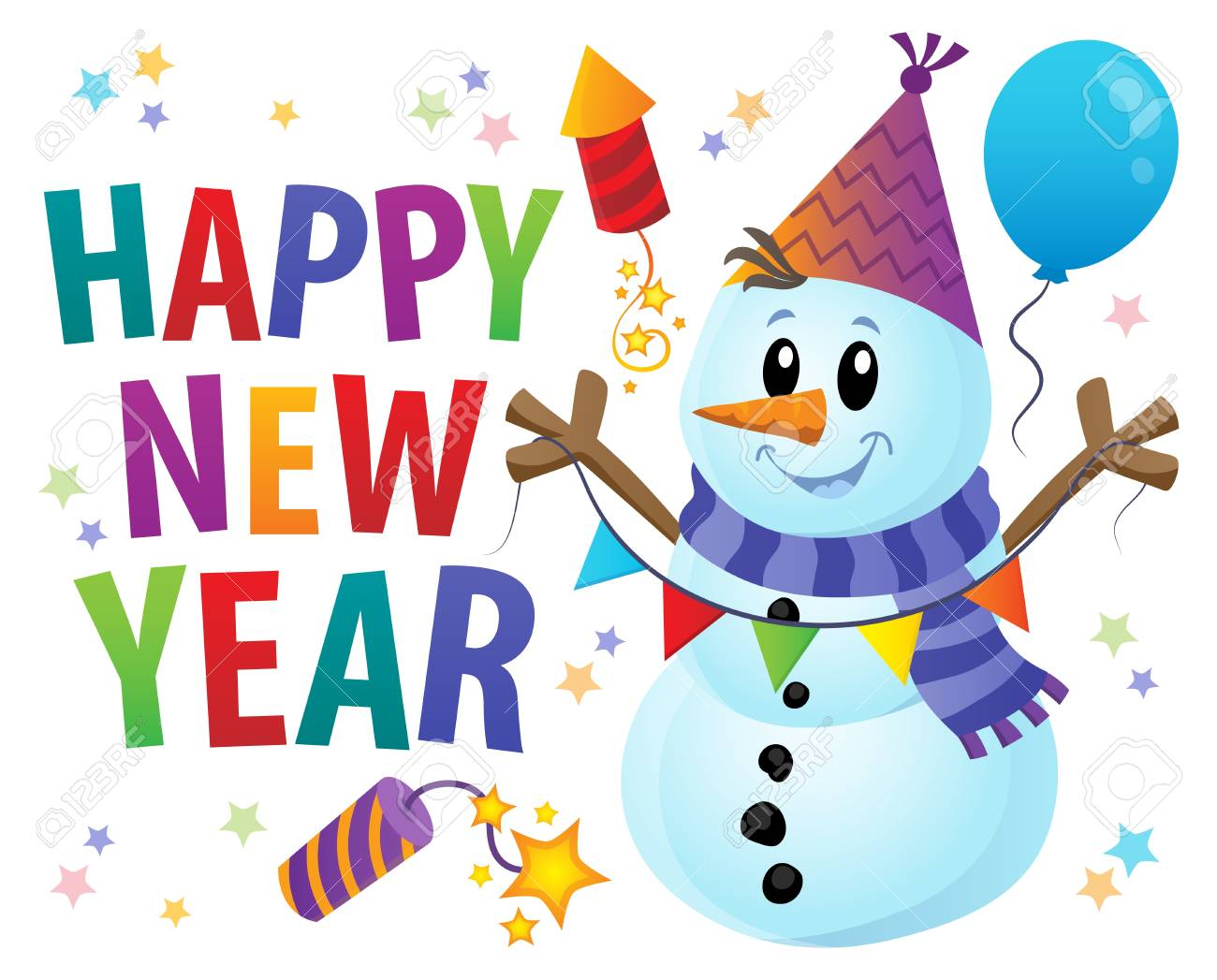 Happy New Year theme with snowman illustration..