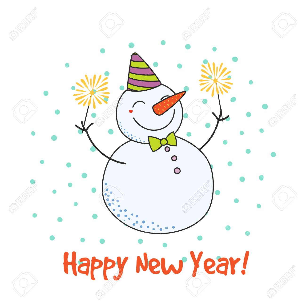 Hand drawn Happy New Year greeting card with cute funny cartoon...