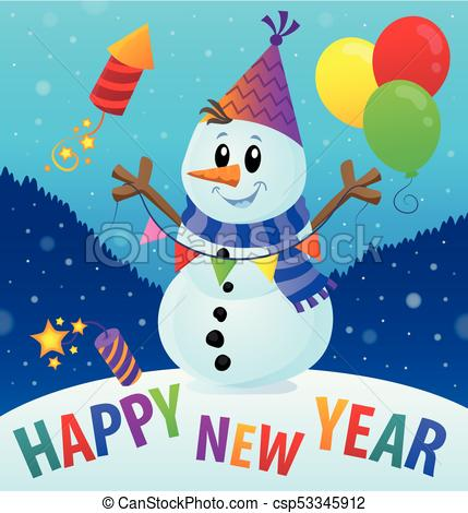 Happy New Year theme with snowman 2.
