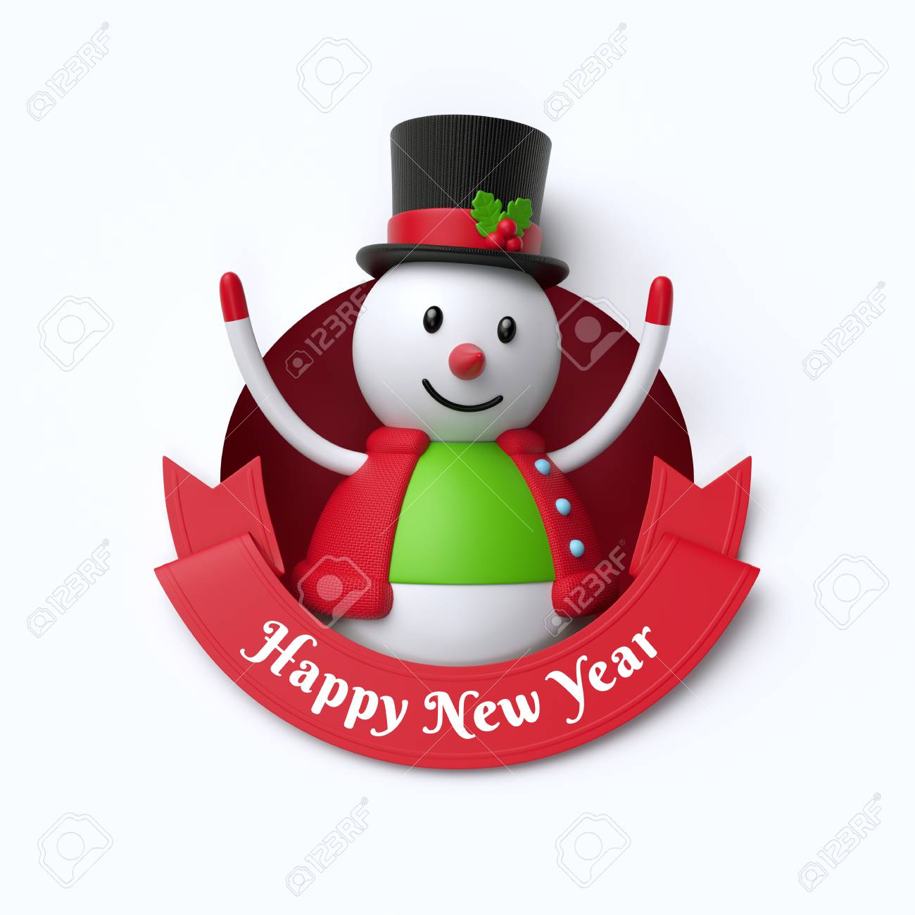 3d render, funny snowman toy, inside round hole, Happy New Year,...