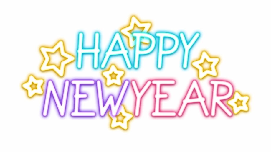 Happy New Year Text Transparent Png Vector & Clipart.