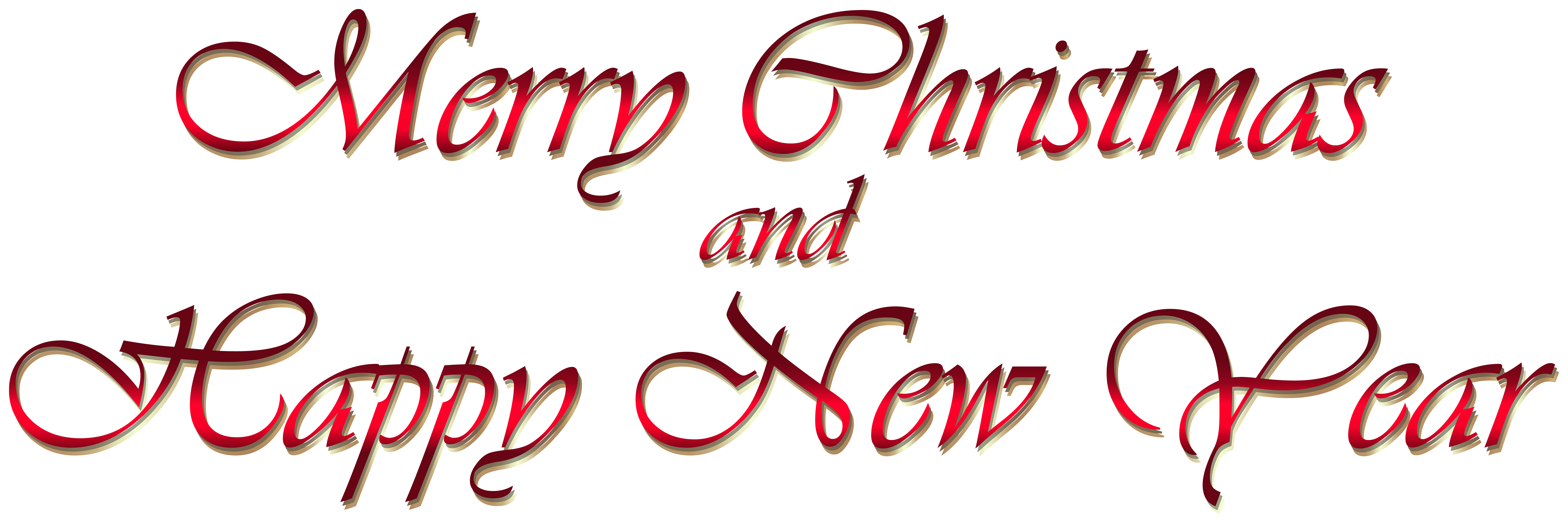 Merry Christmas and Happy New Year Text PNG Clipart.