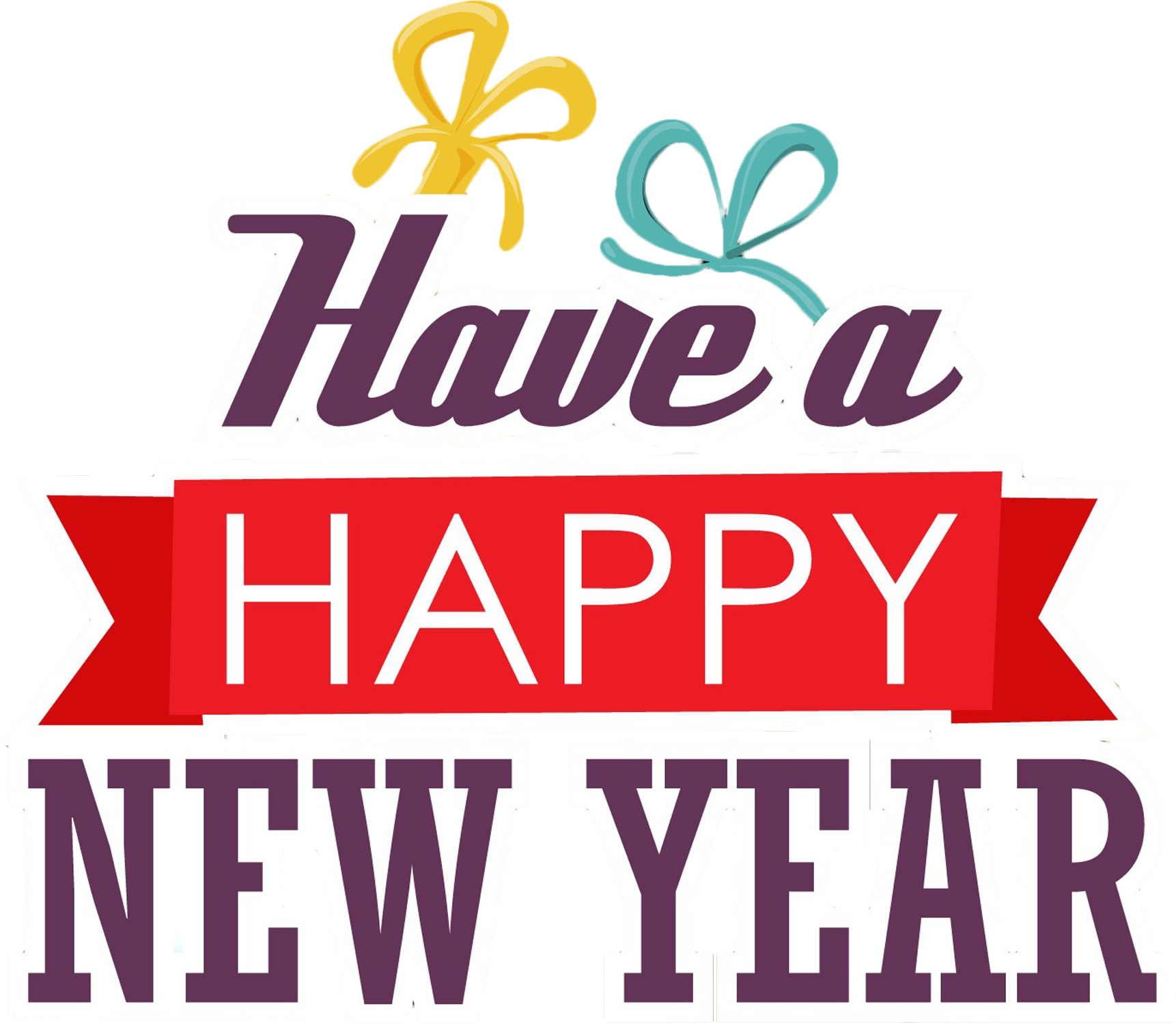 Free Have a Happy New Year Text PNG Image.
