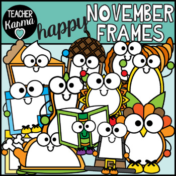 November Frames Clipart, Thanksgiving Borders.