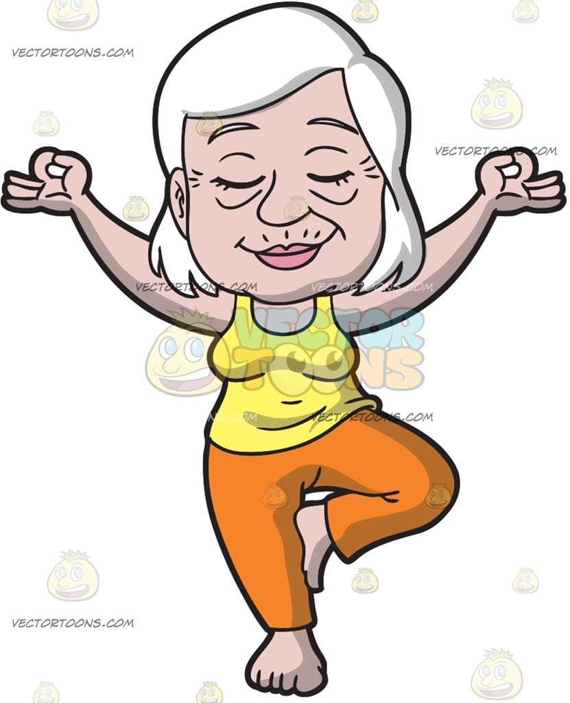 An Old Woman Doing Yoga: An old lady with white hair wearing a.