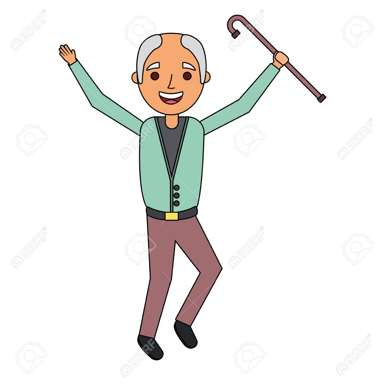 old man happy grandfather hands up character vector illustration.
