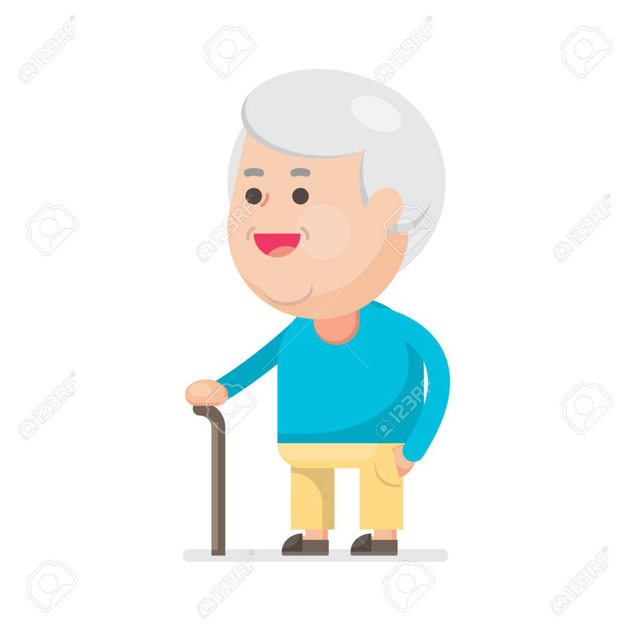 Happy cute old man smiling, Grandfather with walking stick Portrait,...