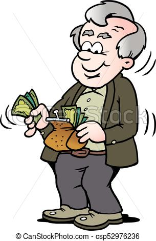 Cartoon Vector illustration of a happy old man taking money out of his  wallet.