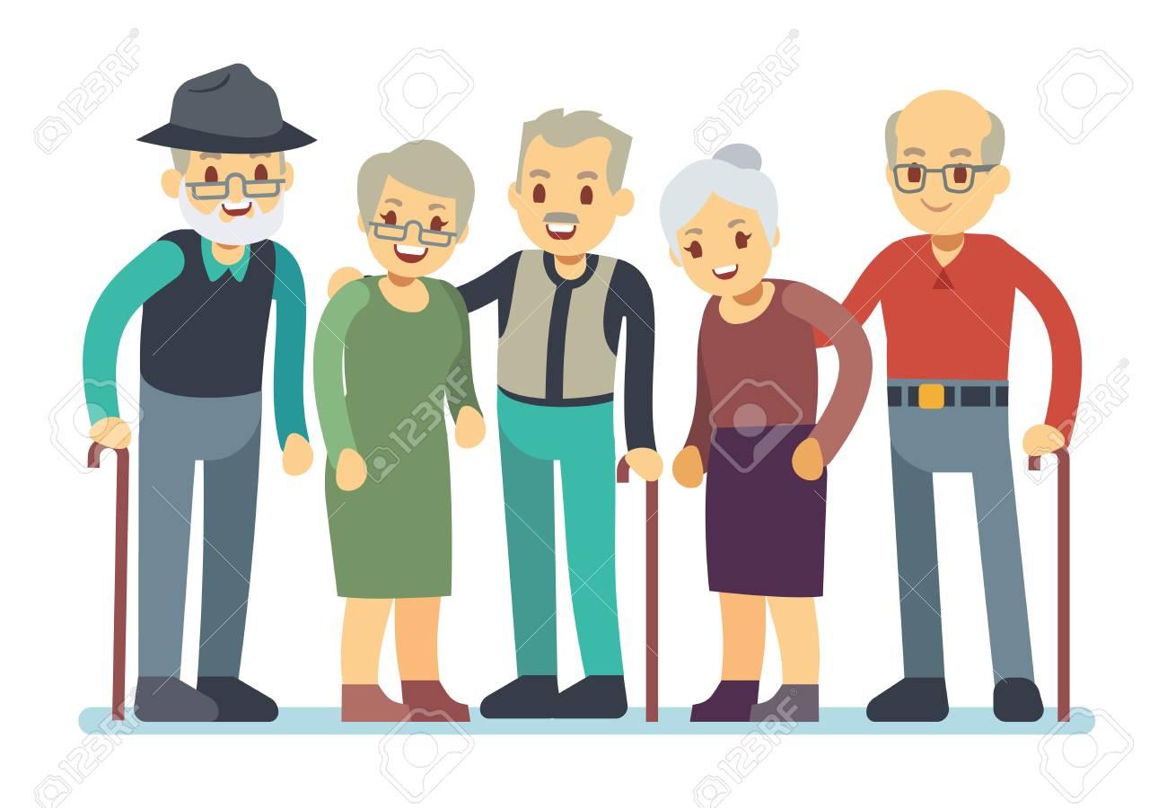 Group of old people cartoon characters. Happy elderly friends...