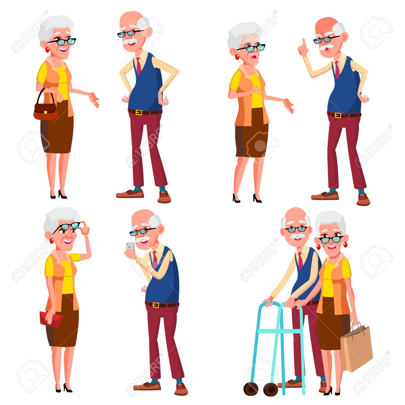 Elderly Couple Set Vector. Modern Grandparents. Old Age. With...