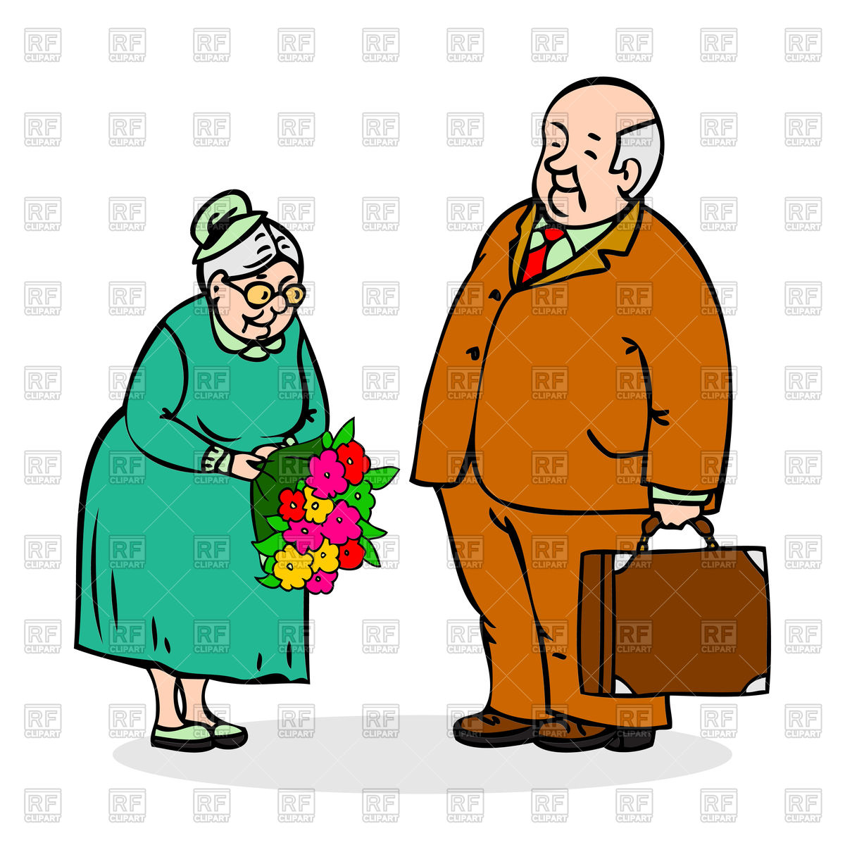 Happy elderly couple. Old man with bouquet of flowers Stock Vector Image.