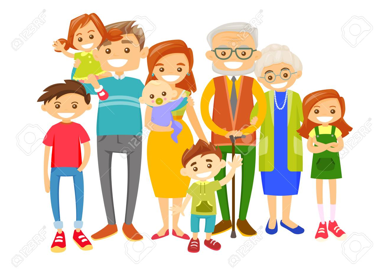 Happy caucasian white smiling family with old grandparents, young...