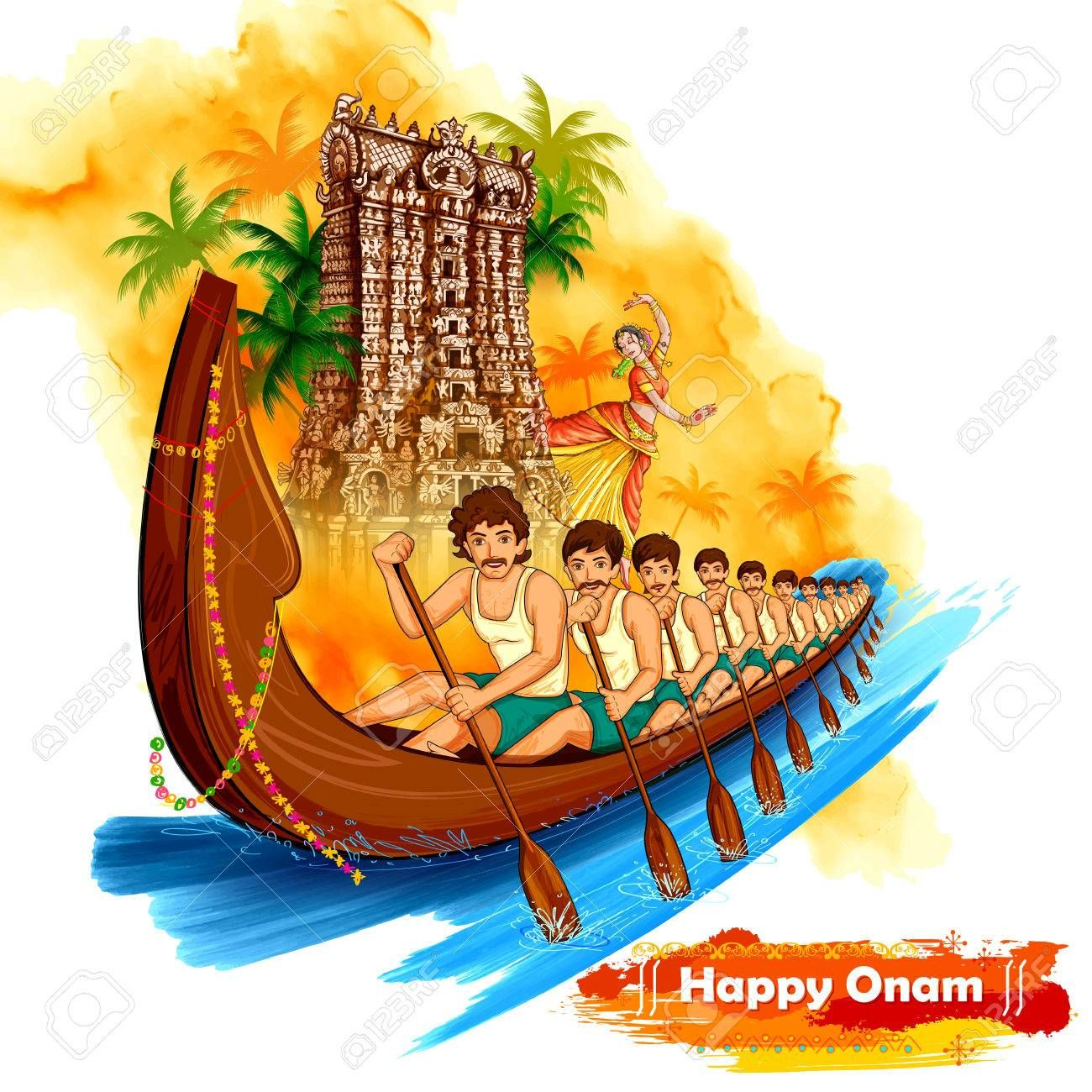 Meenakshi Temple Backdrop Snakeboat Race In Onam Celebration.