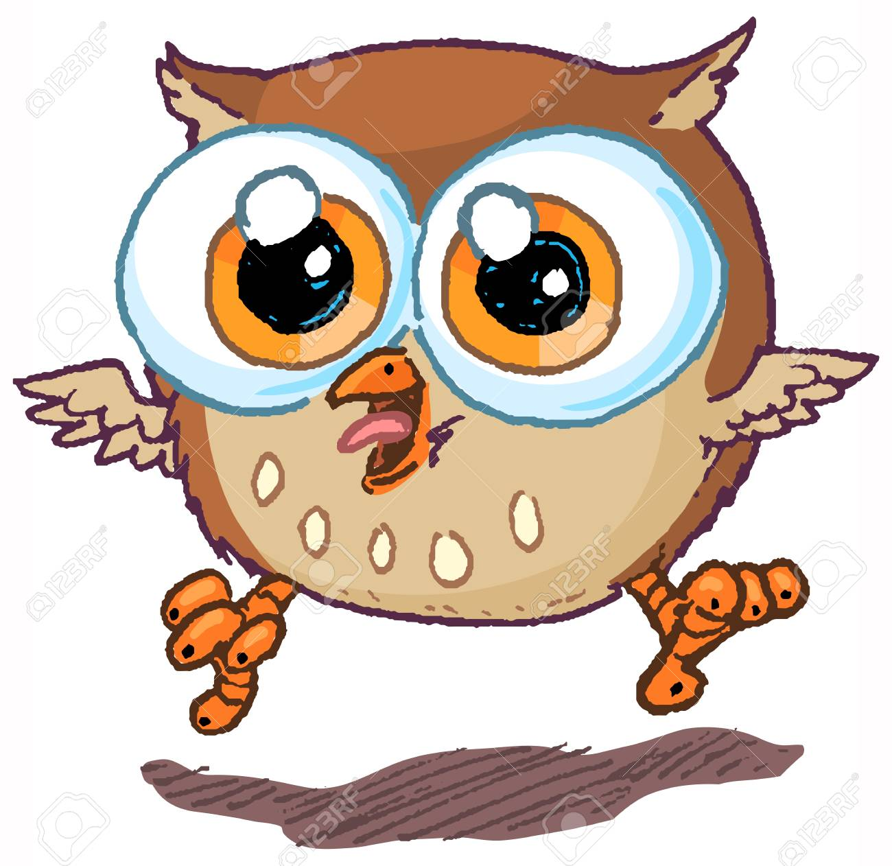 Vector cartoon clip art illustration of a cute and happy owl...