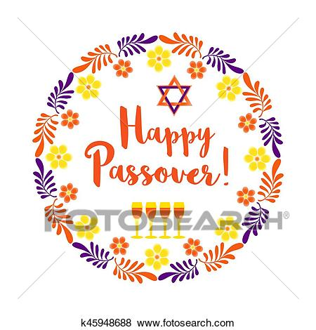 Happy Passover card Clip Art.