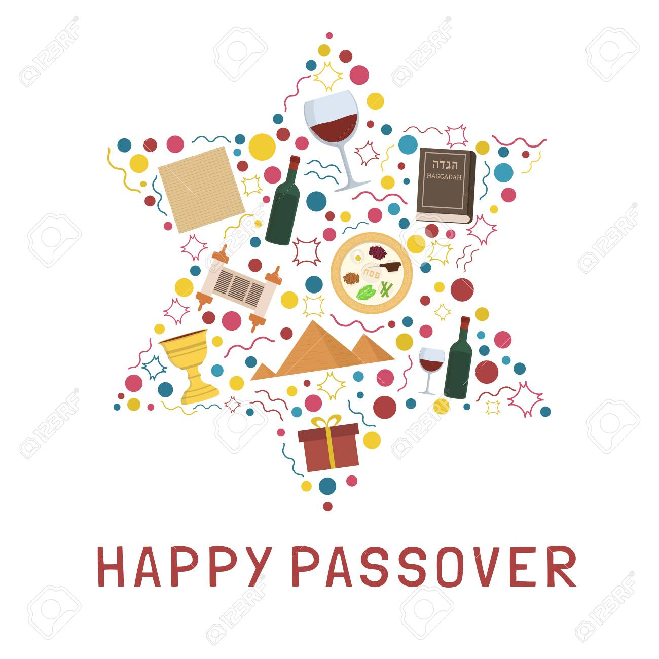Passover holiday flat design icons set in star of david shape...