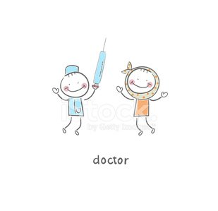Doctor and happy patient with needle Clipart Image.