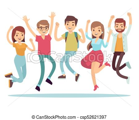 Jumping young happy people in casual clothes. Flat vector characters set.