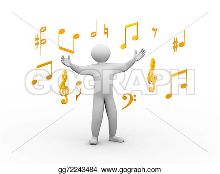 Happy Singing People Clipart.