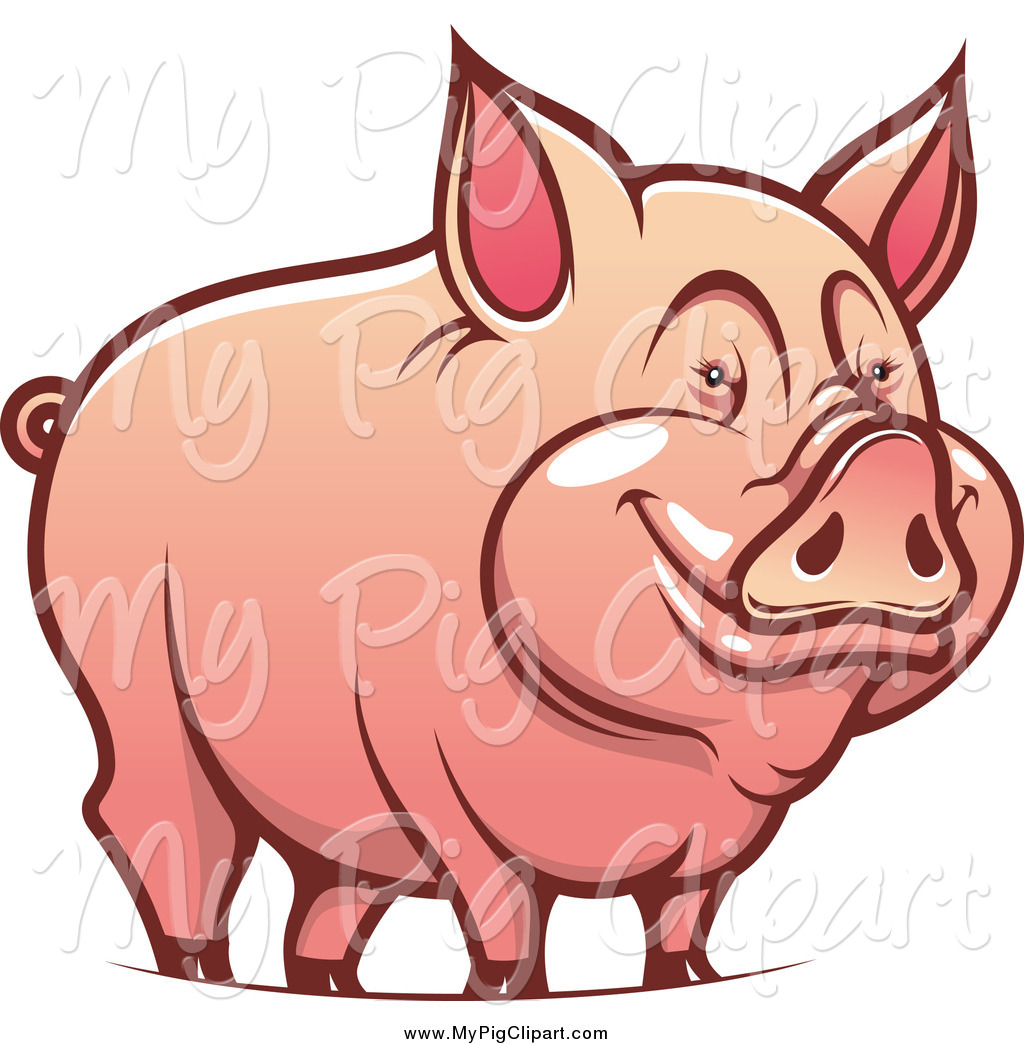 Swine Clipart of a Happy Pig Smiling by Vector Tradition SM.