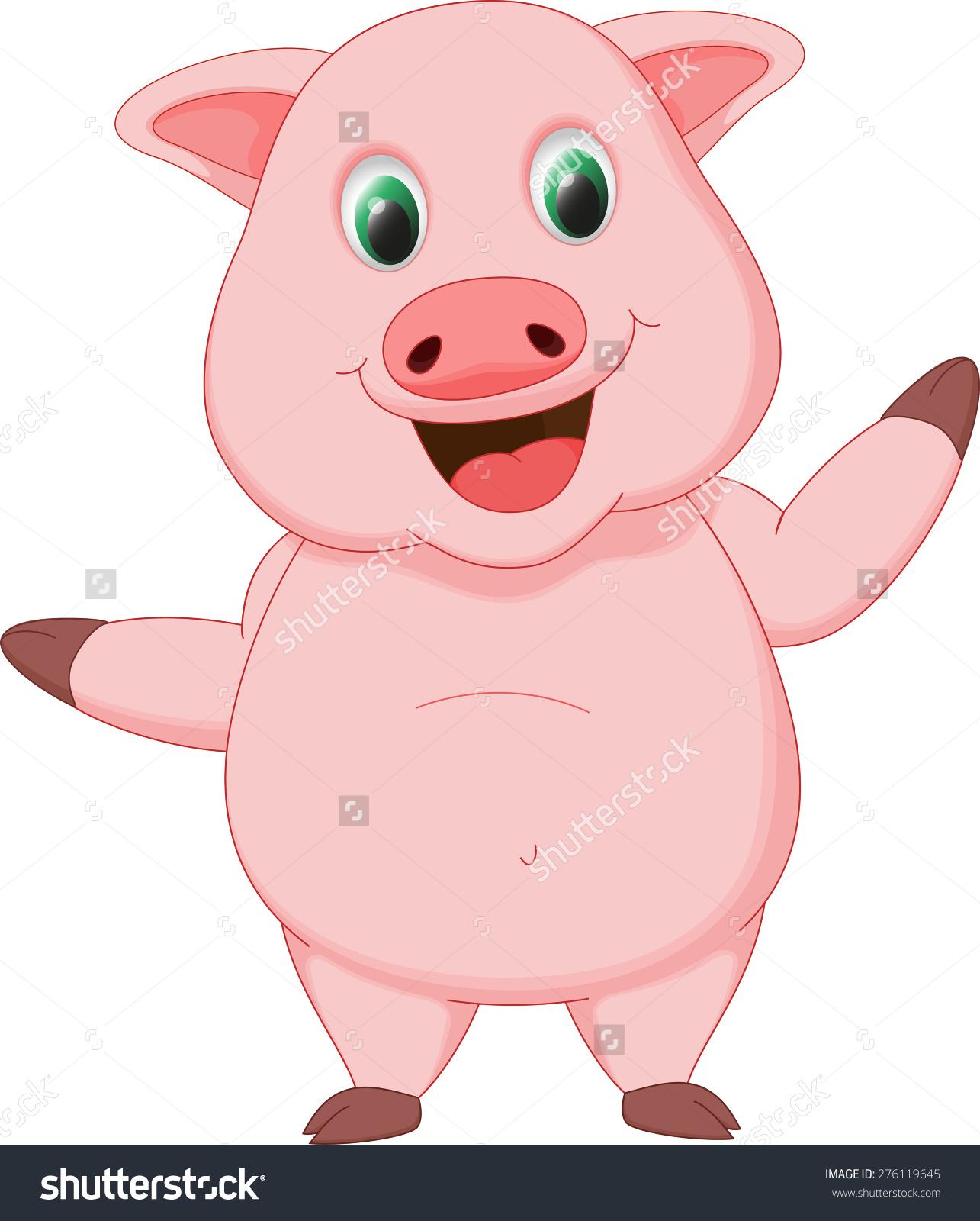 Happy Pig Cartoon Stock Vector 276119645.