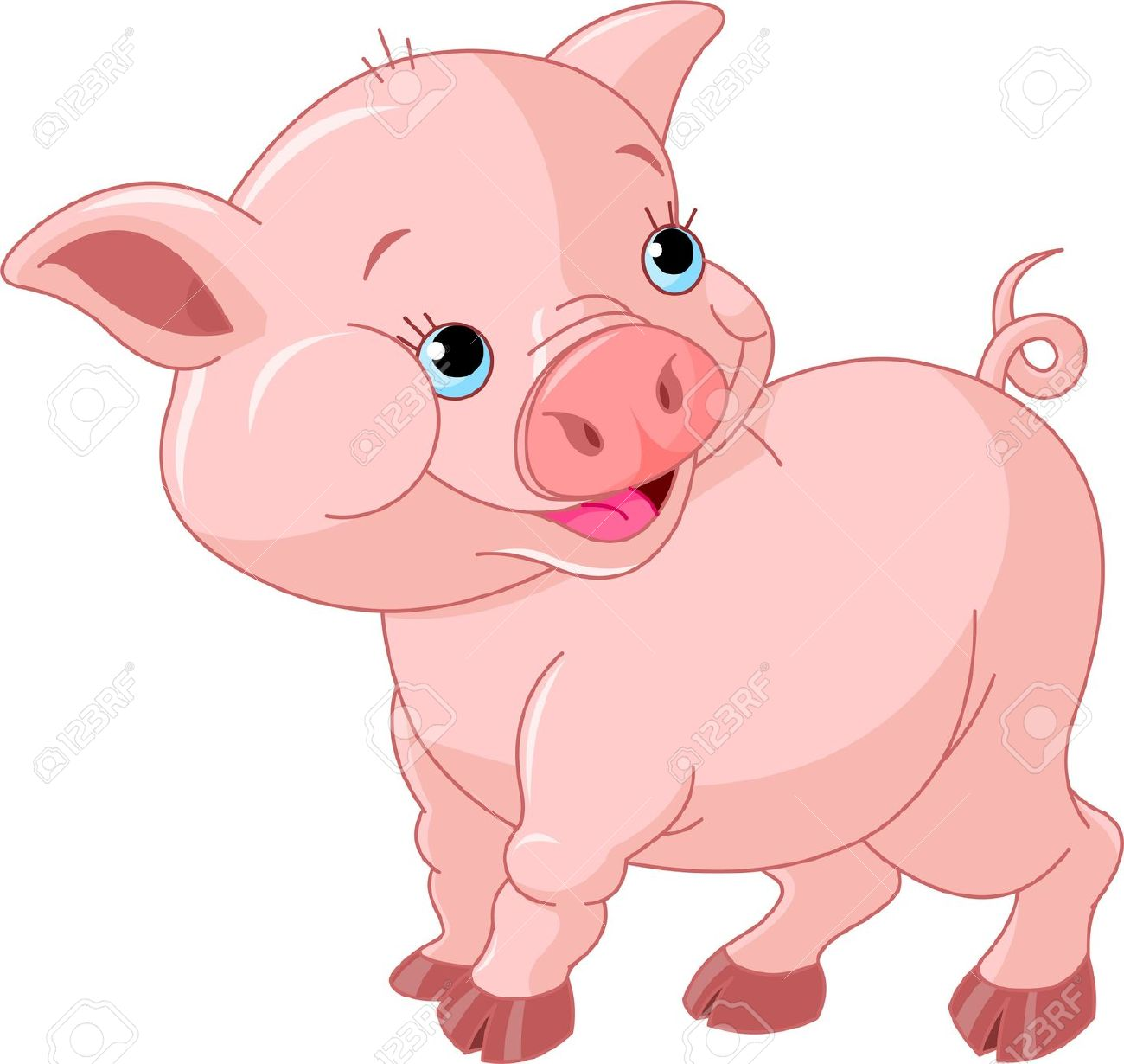 Smiling pig clipart.