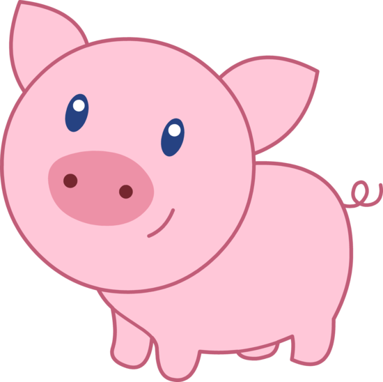 Happy pig clipart.