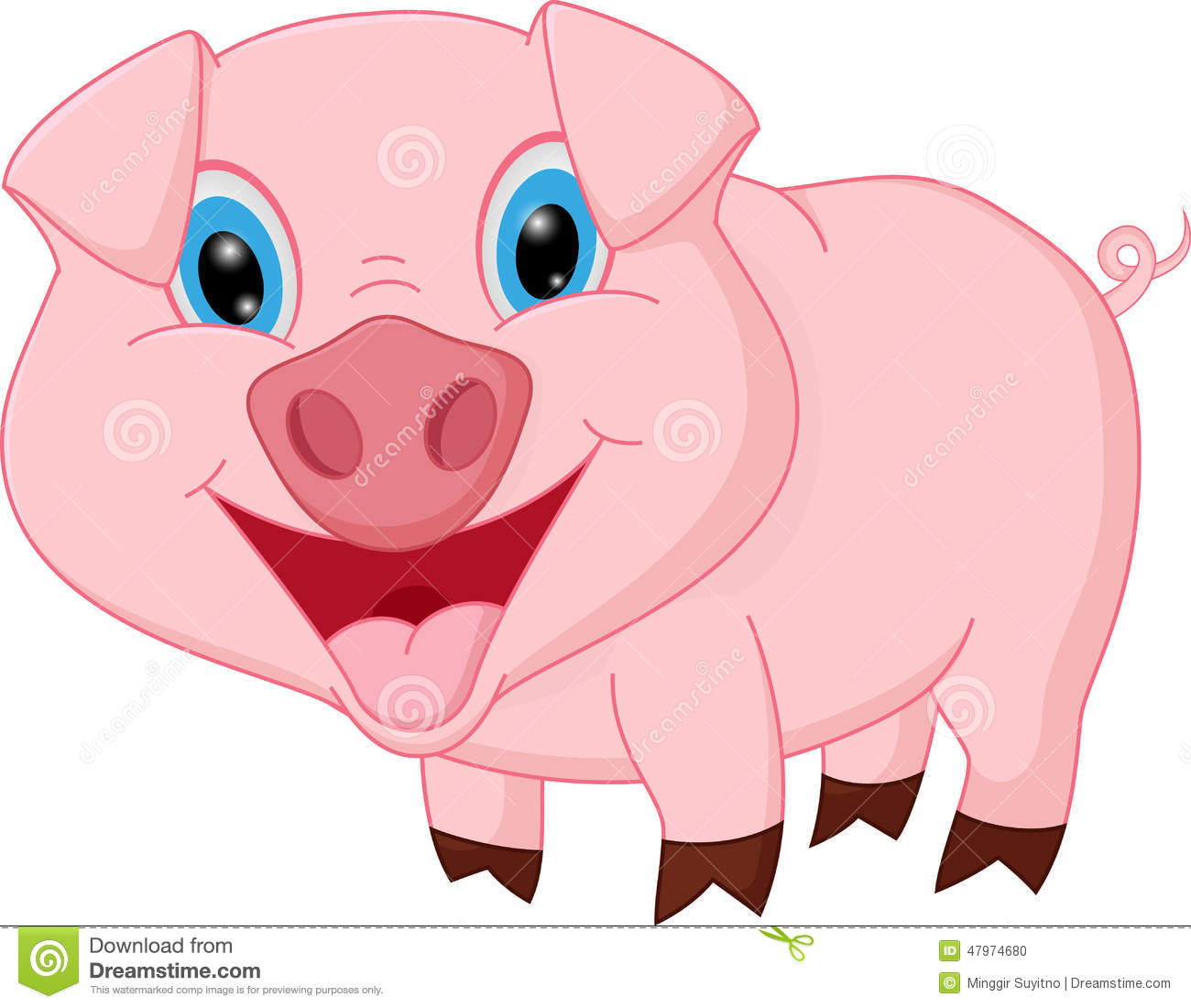 Happy Pig Cartoon Stock Vector.
