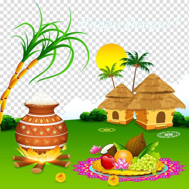 Happy Pongal! greeting illustration, Thai Pongal Makar Sankranti.