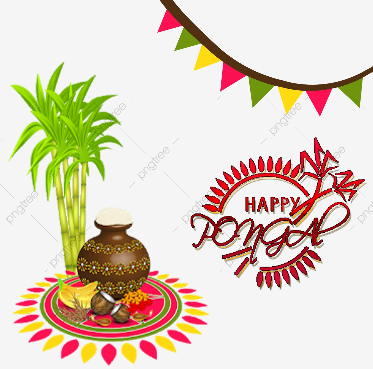 Happy Pongal Vector, Background Pongal, Wishes, Sankranti Pongal PNG.
