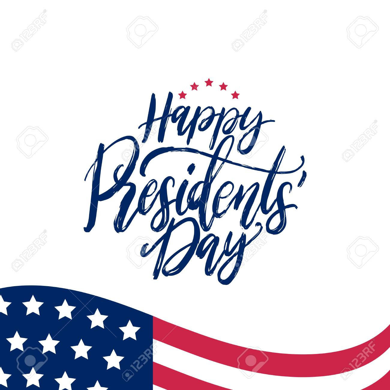 Happy Presidents Day handwritten phrase in vector. National holiday...