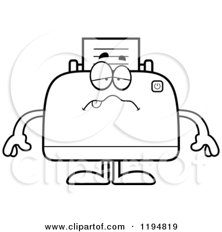 Cartoon of a Happy Printer Mascot.