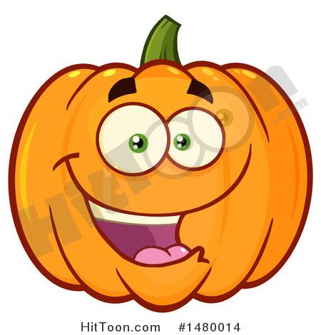 Pumpkin Clipart #1480014: Happy Pumpkin Character Mascot by Hit Toon.
