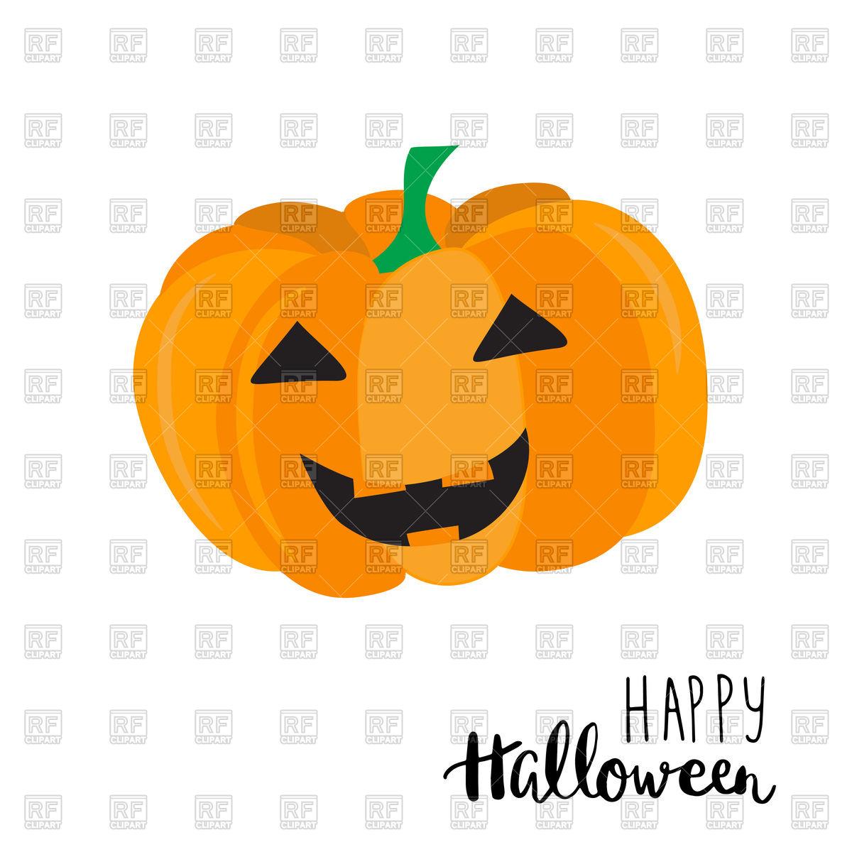 Happy Halloween сard with cute smiling pumpkin Vector Image.