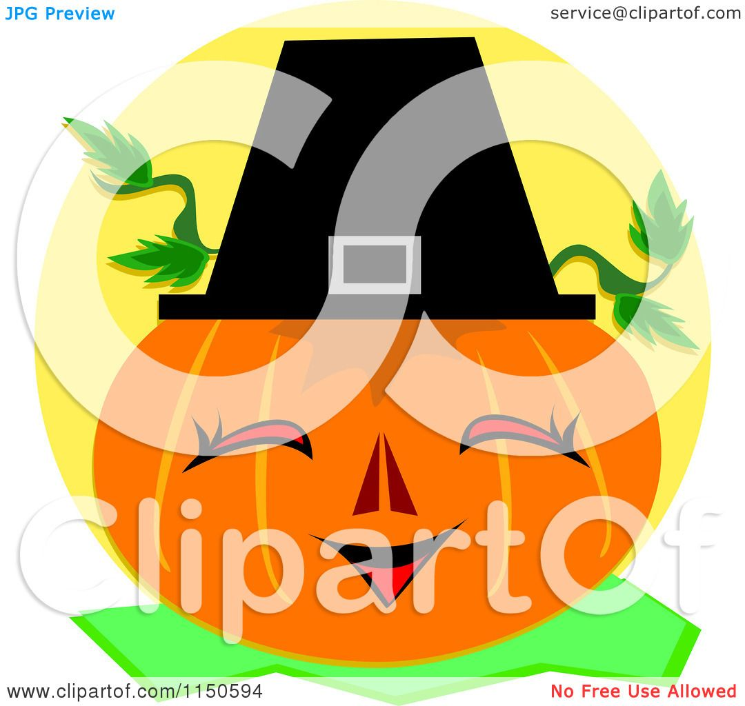 Cartoon of a Happy Pumpkin Wearing a Pilgrim Hat.