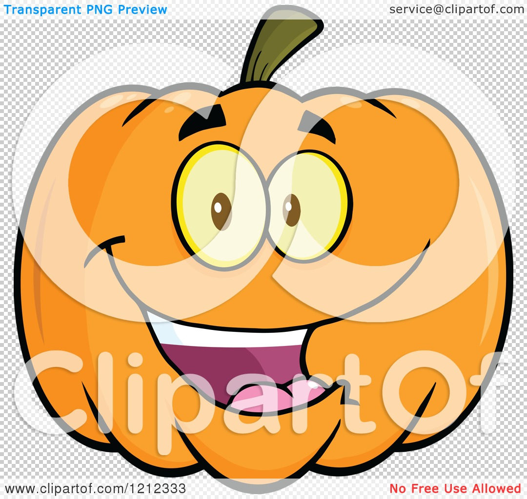 Cartoon of a Happy Smiling Halloween Pumpkin.
