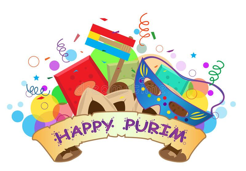 Happy Purim Banner. Colorful banner with Purim symbols and.