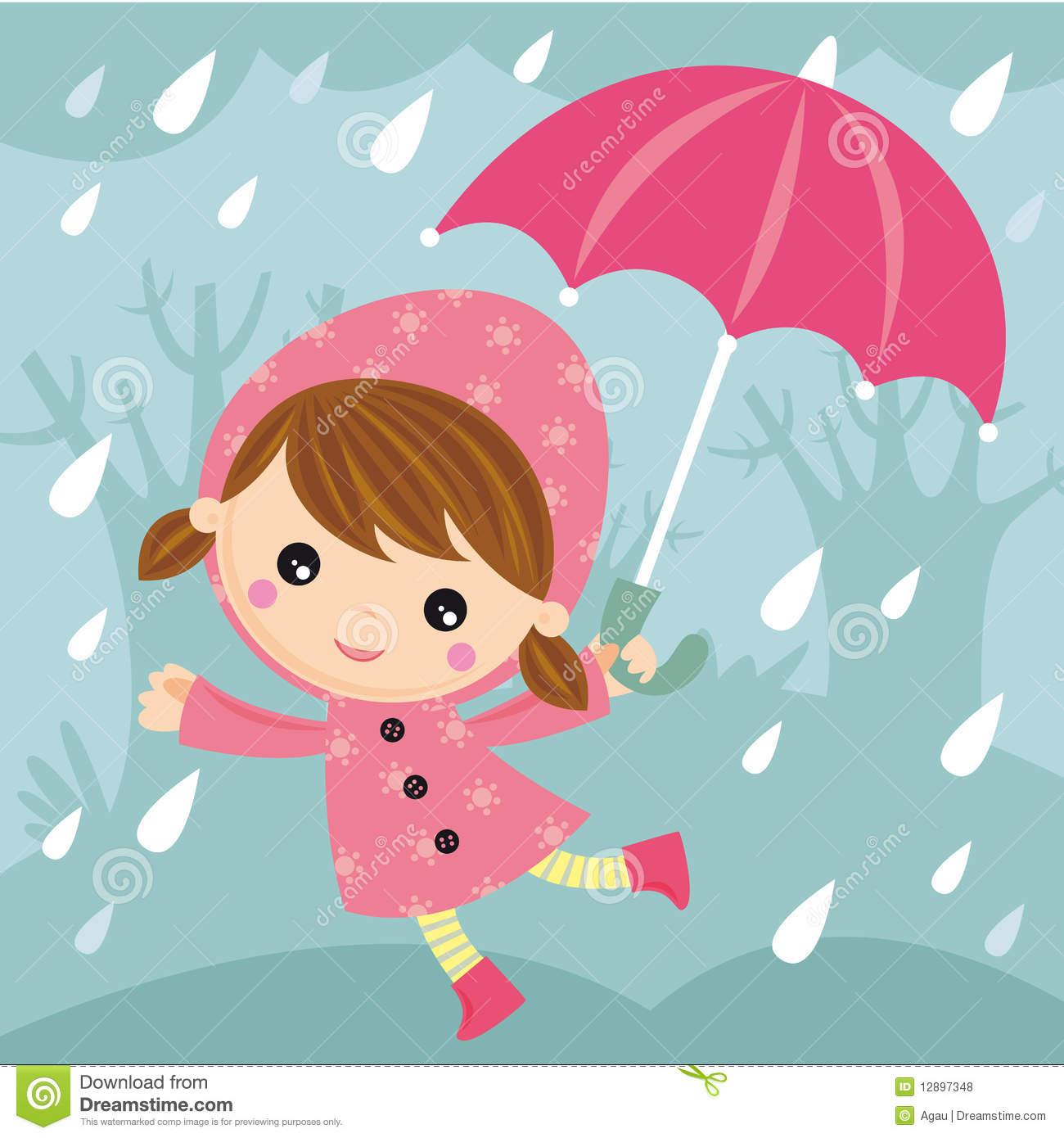 Rainy day stock vector. Illustration of happy, drop, girl.