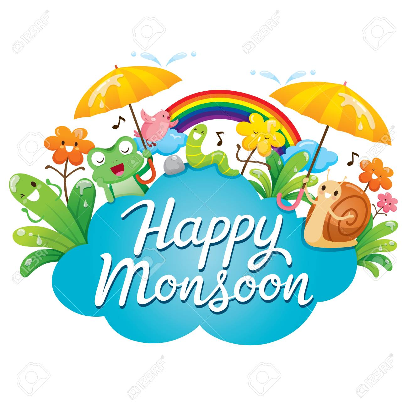 Banner Of Happy Monsoon With Cartoon Character, Animals And Nature,...