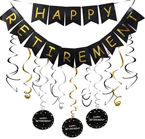 Happy Retirement Banner and Happy Retirement Hanging Swirls for Retirement  Party Decorations Black Gold Retirement Party Supplies.
