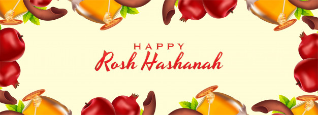 Happy rosh hashanah text on background. Vector.
