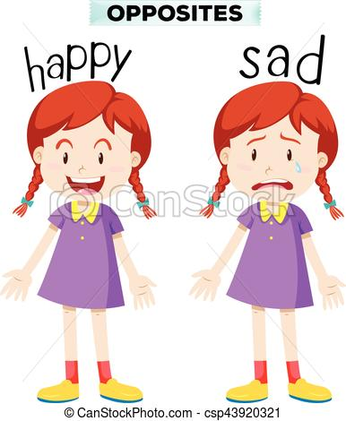 Opposite words with happy and sad.