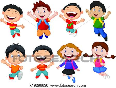 Happy school kid cartoon Clipart.