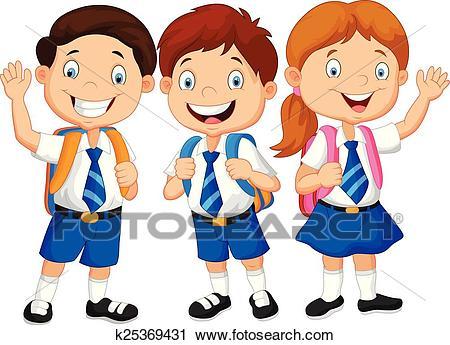 Cartoon happy school children Clipart.