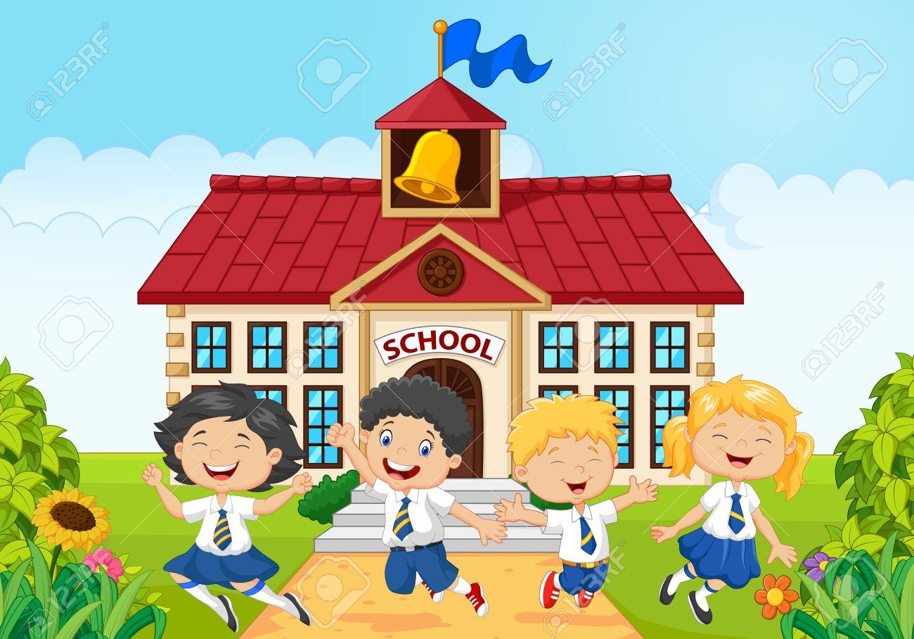 illustration of Happy school kids in front of school building.