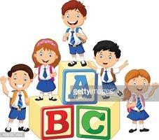 Happy School Kids With Alphabet Blocks stock vectors.